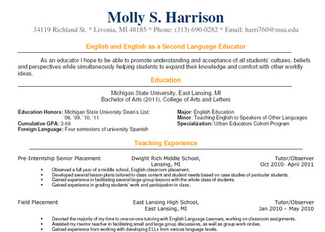 sample resume of a teacher in high school - Narcopenantly