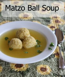 Matzo ball soup.  My personal comfort food.  Easy, delicious and a nice alternative to chicken noodle soup!
