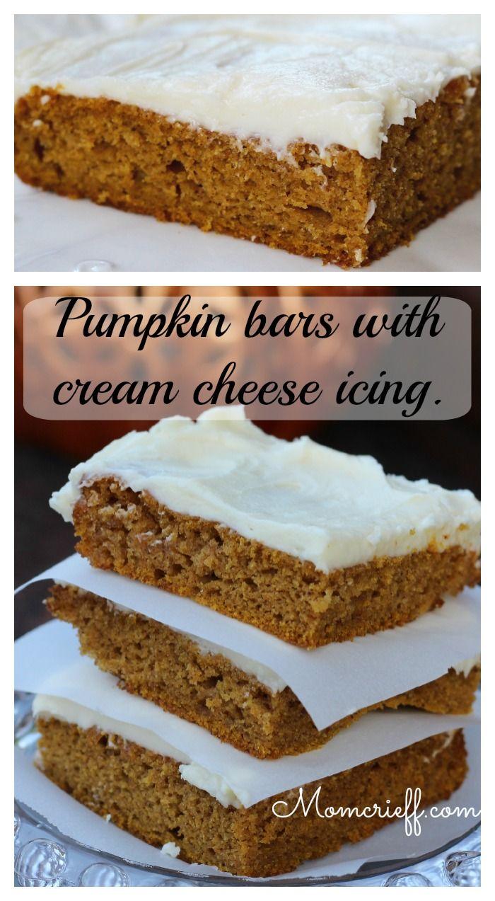 Paul's Pumpkin Bars (with cream cheese icing) - Momcrieff