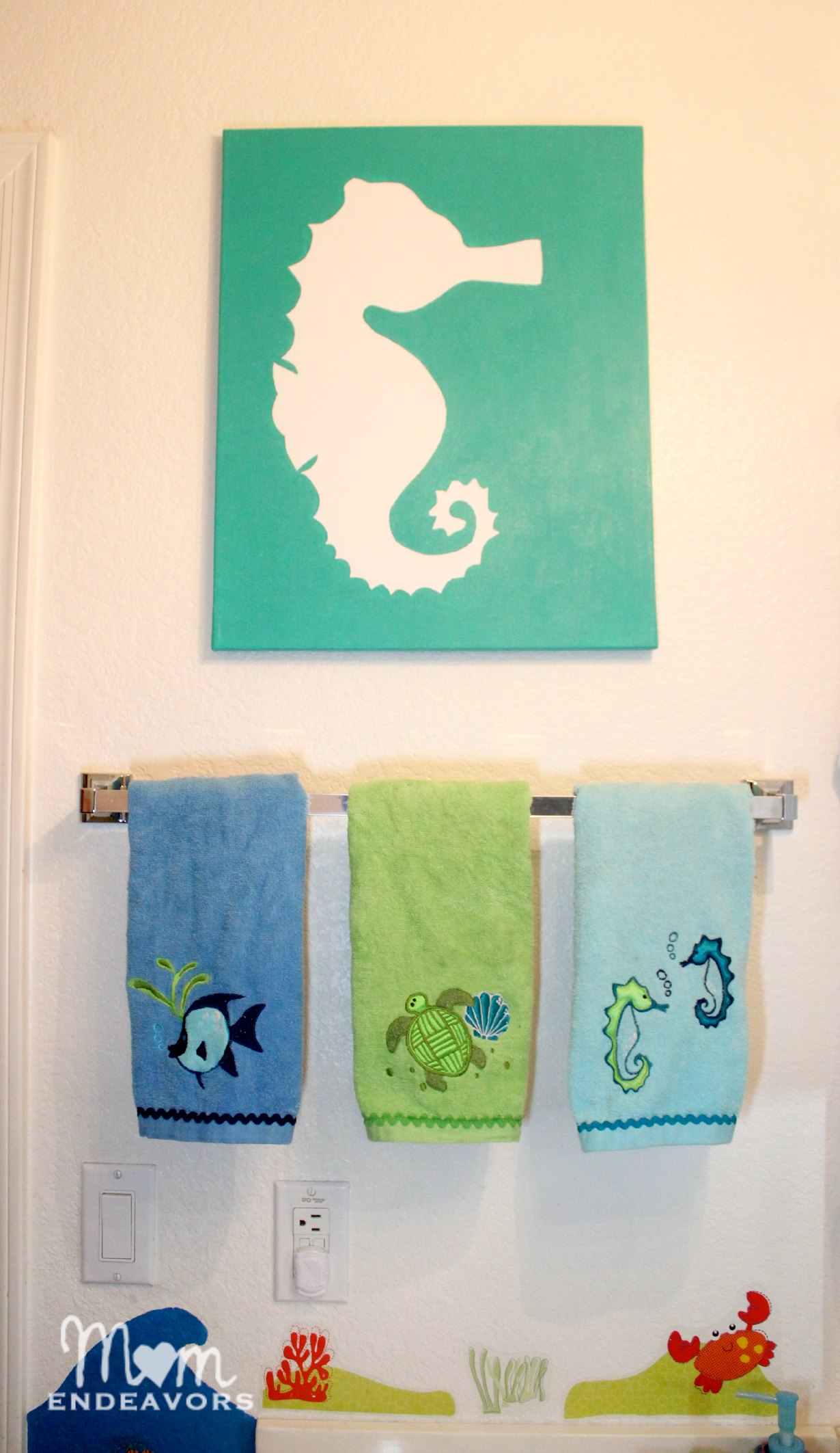 Kids Ocean Bathroom Decor Diy Art Beachy Seahorse Canvas
