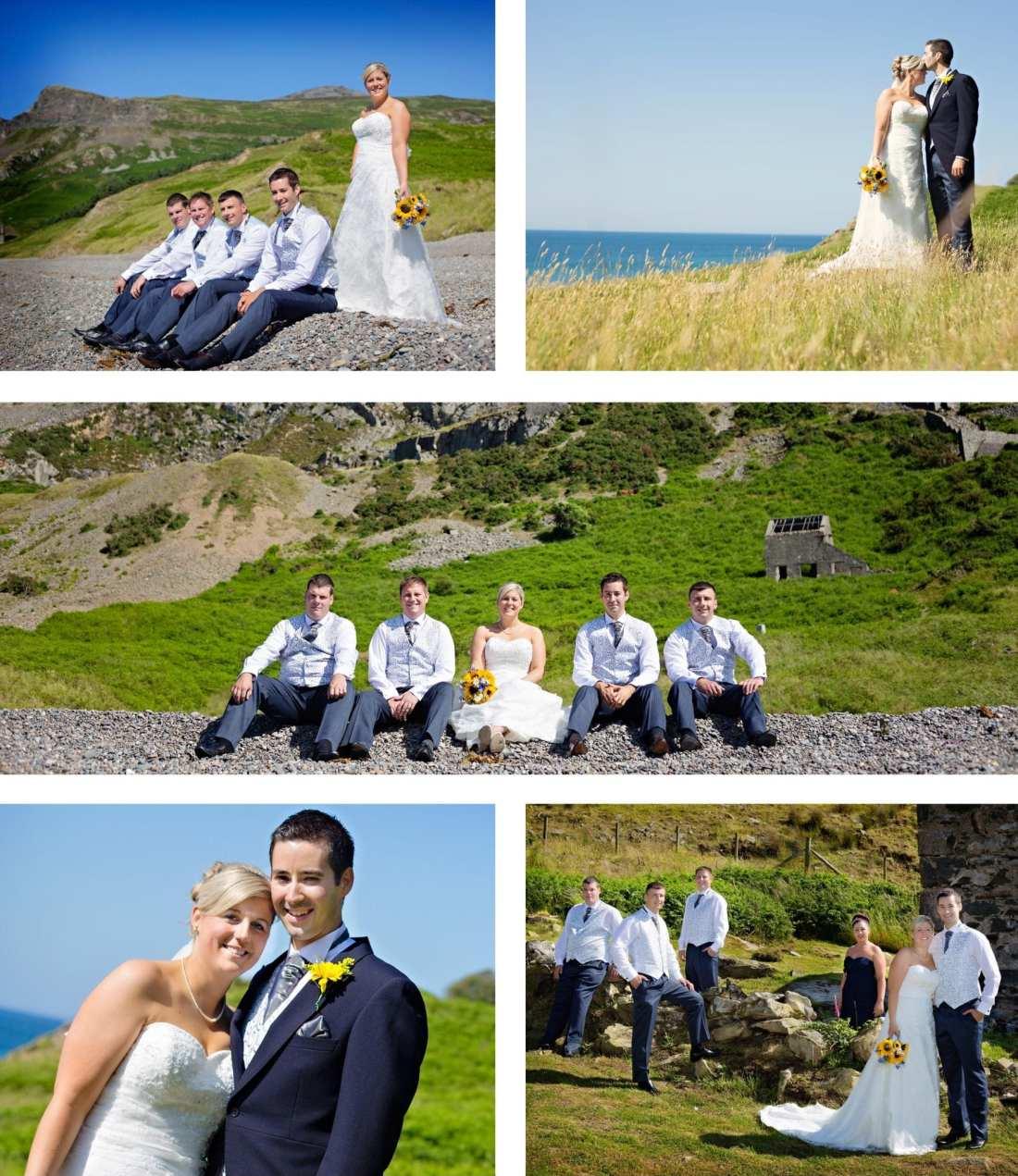 North Wales wedding - wedding party on beach