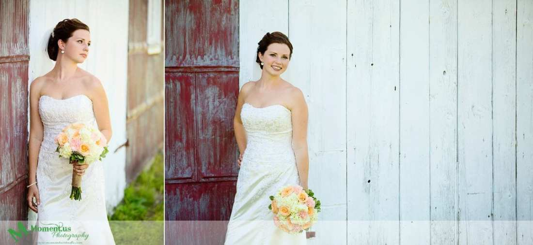 Outdoor Cornwall Wedding - bridal portrait next to barn