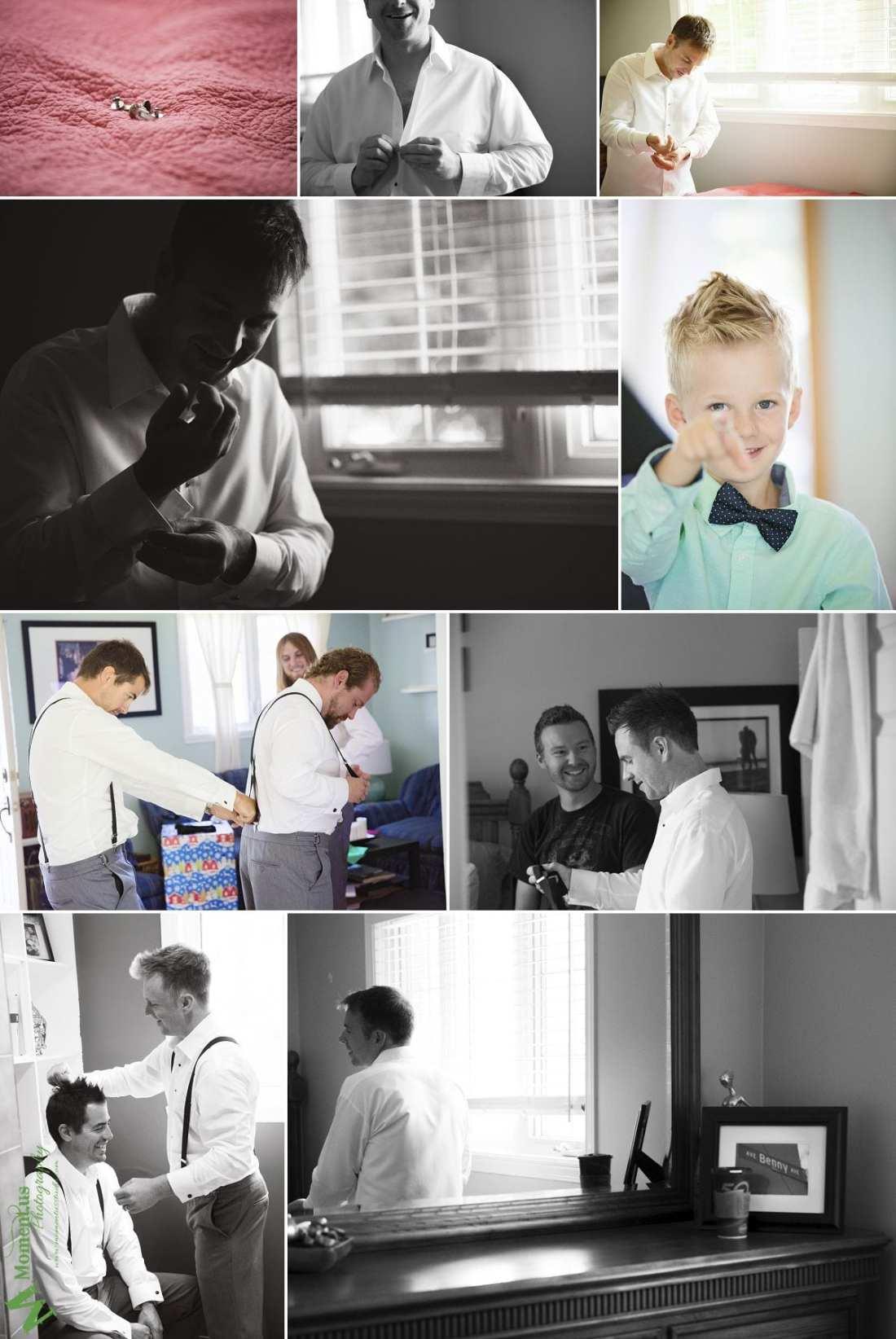 Elegant Cornwall wedding - groom buttoning shirt