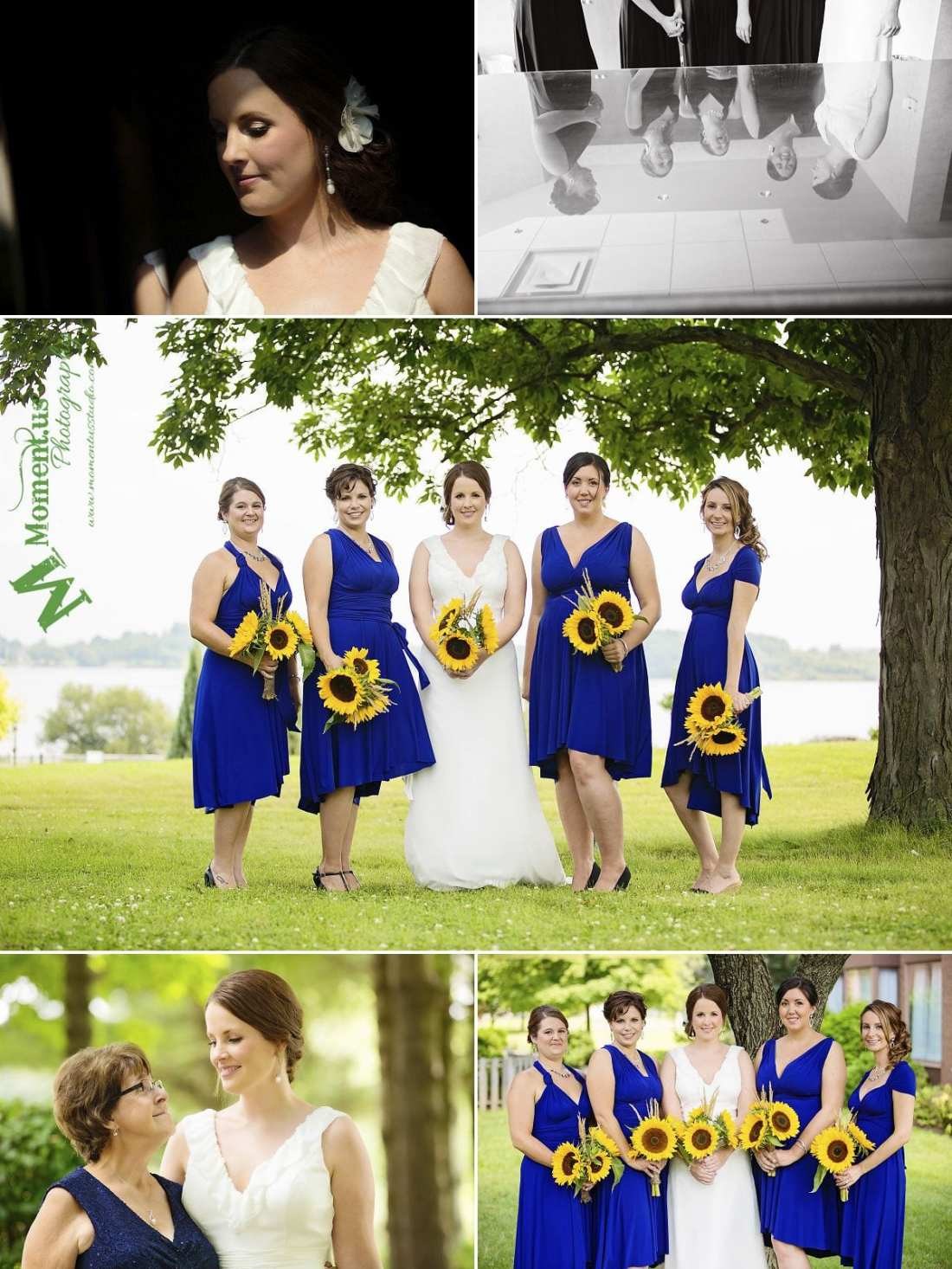 NAV Centre Cornwall weddings - bridesmaids holding sunflowers