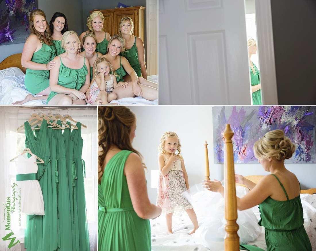 Elegant Cornwall wedding - flower girl getting dressed