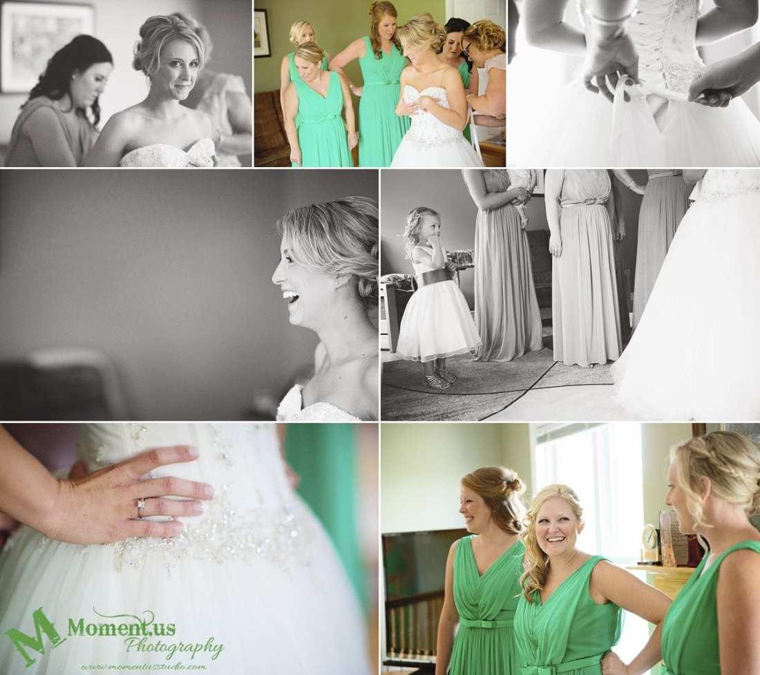 Elegant Cornwall wedding - bride getting dressed