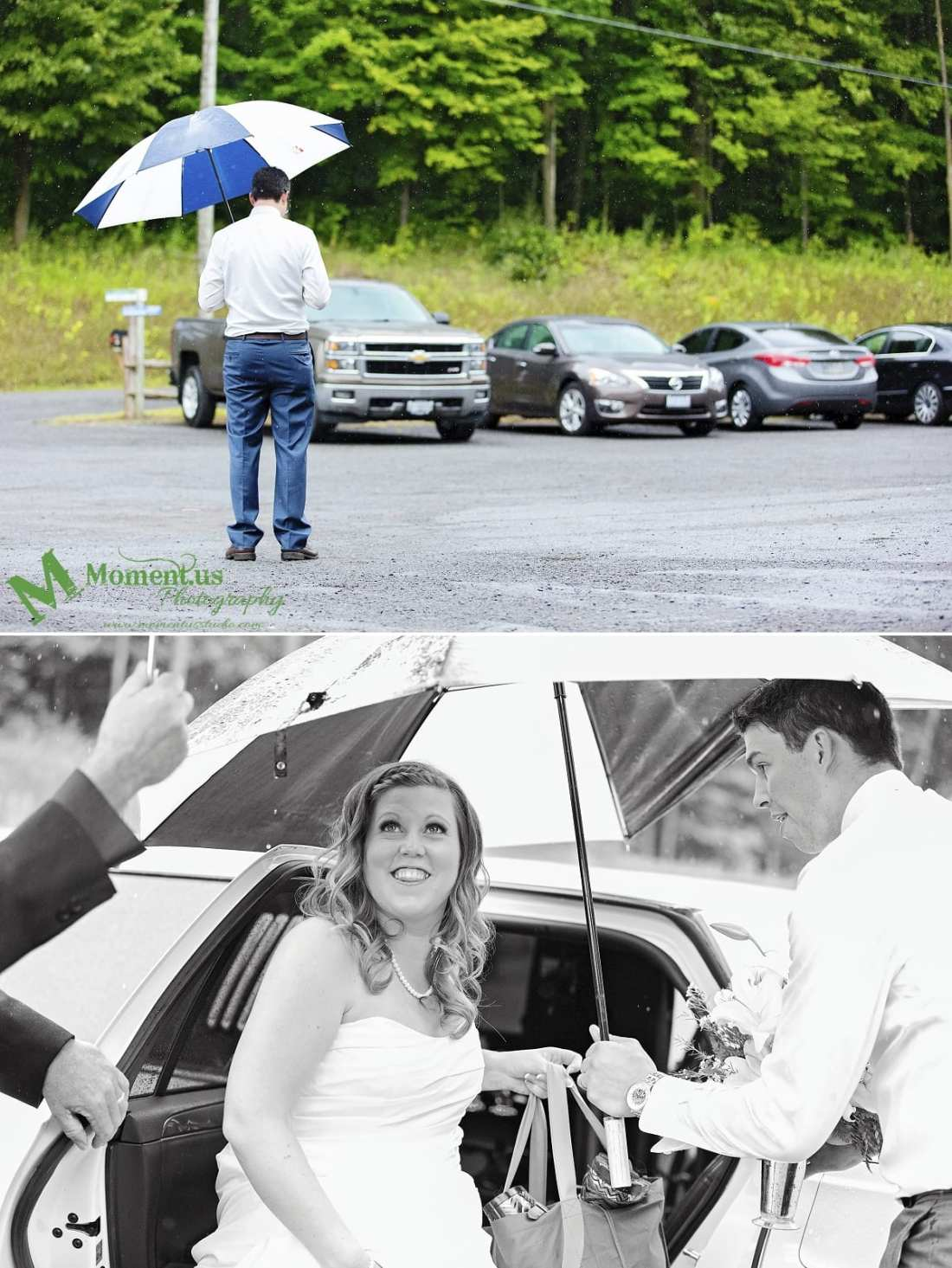 rustic country wedding photos - usher in rain with umbrella