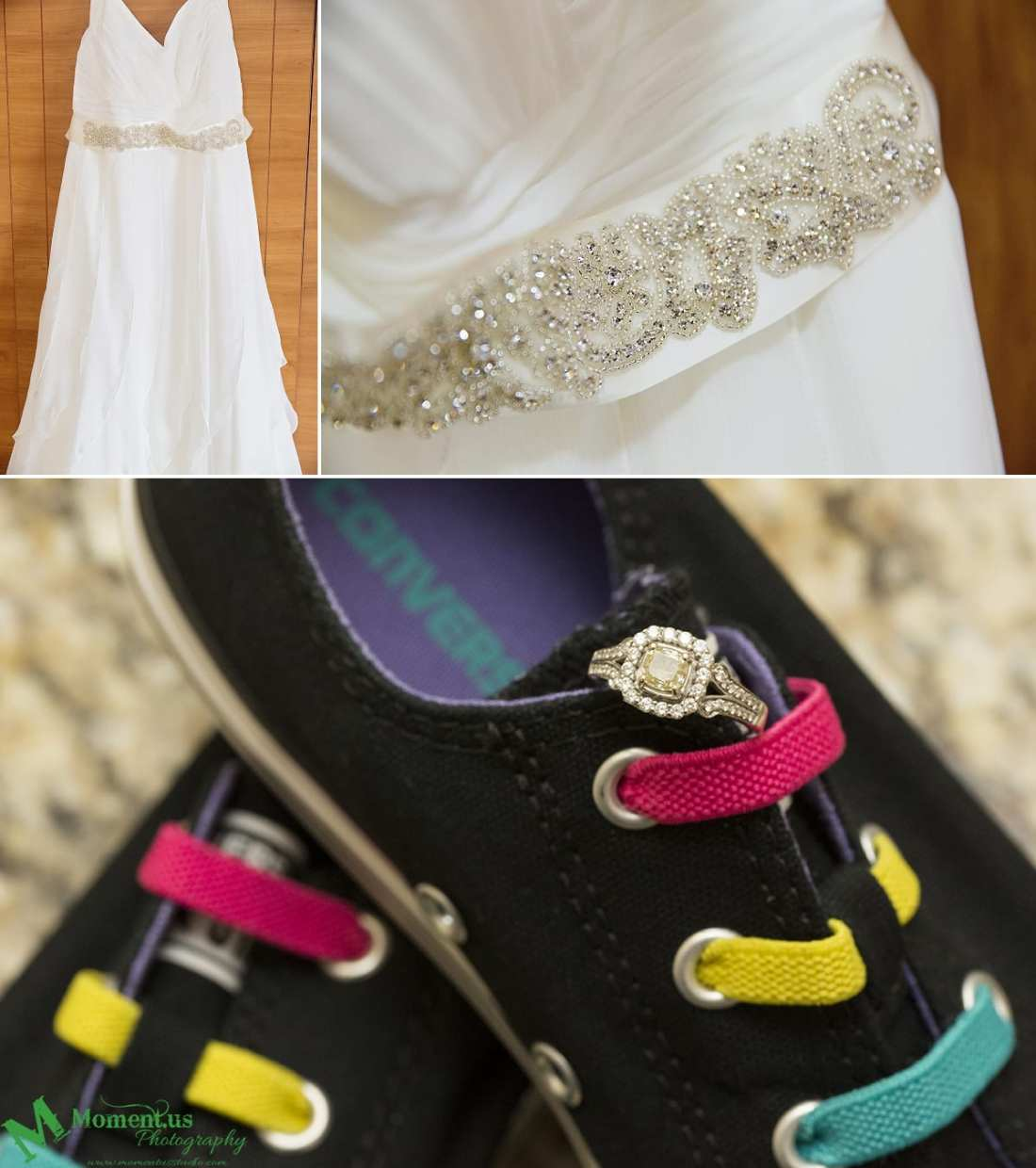 Alexandria wedding - ring on Converse