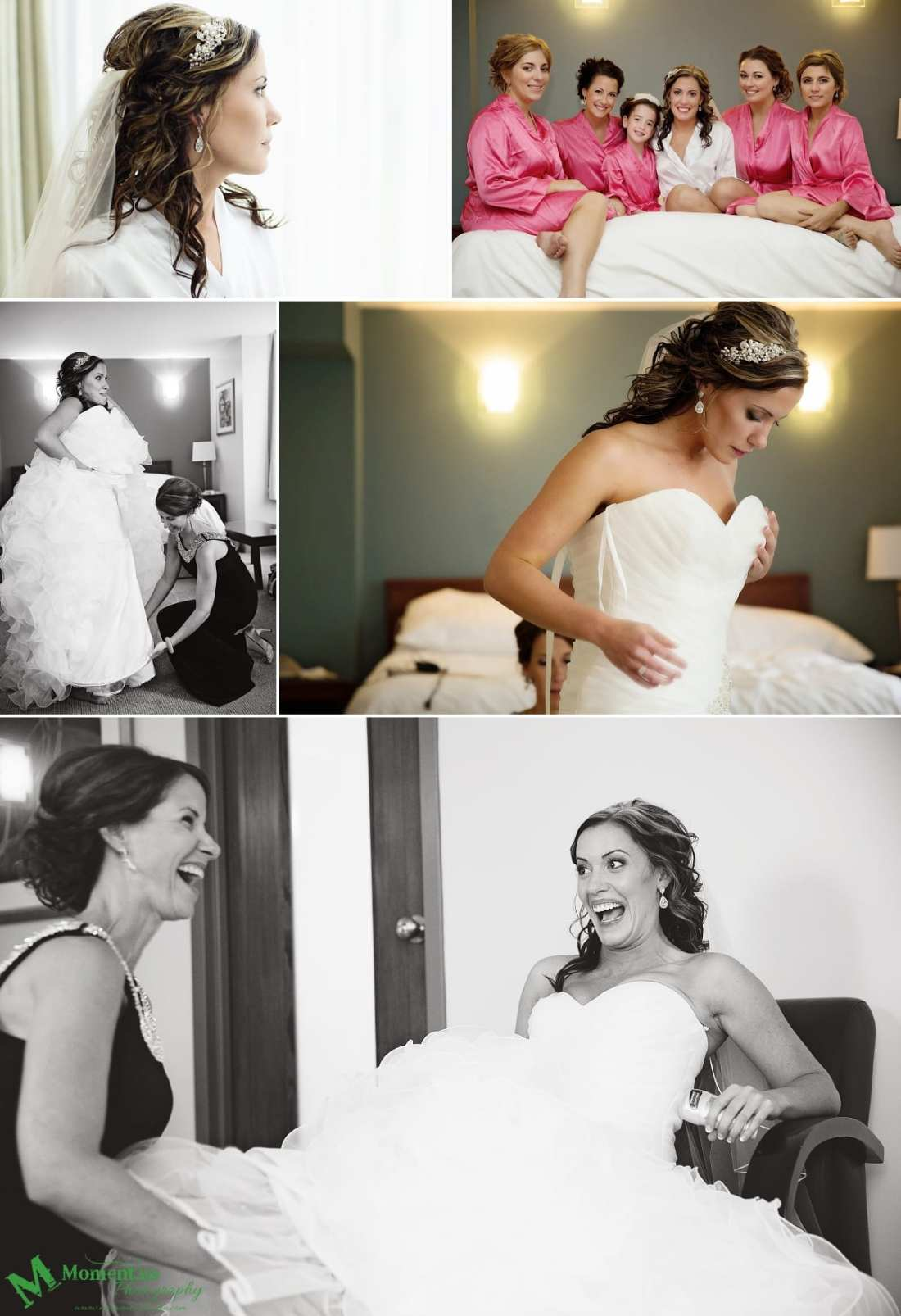 bride and mother laughing during prep at NAVCentre wedding - Cornwall wedding photographer