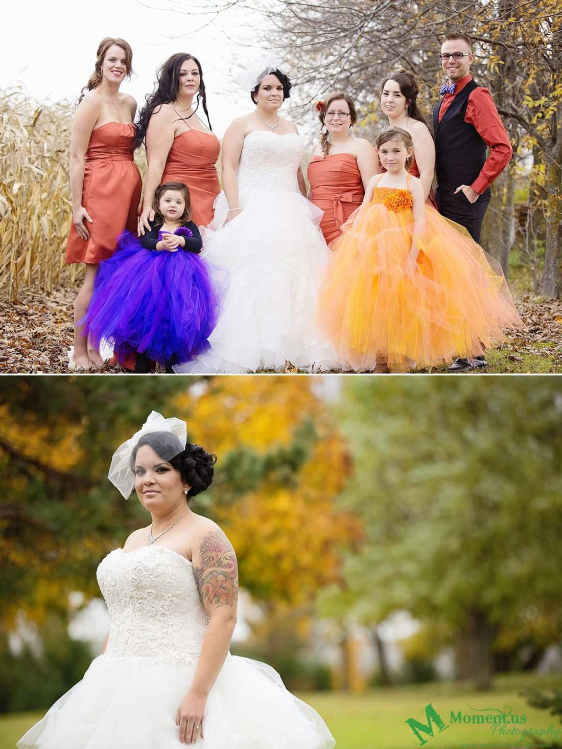 Alexandria wedding - bridal party in orange