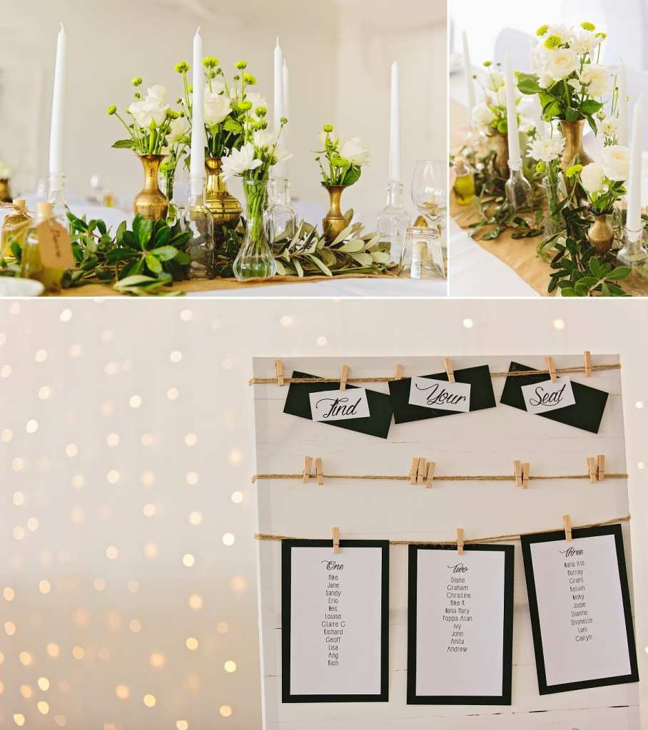 Cornwall international wedding photographer - green gold and white centrepieces
