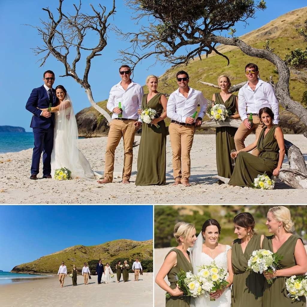 International wedding photographer in Cornwall - wedding party by tree on beach