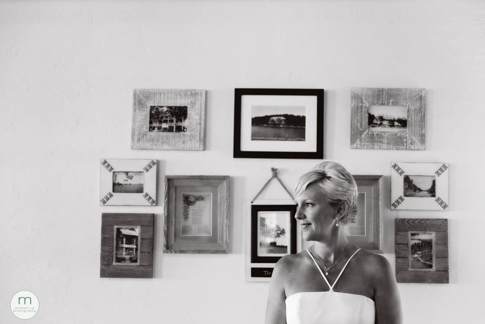 bride portrait in front of frames