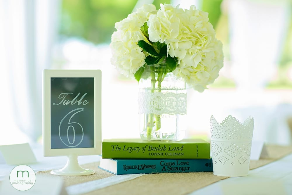 hydrangea and book centrepiece