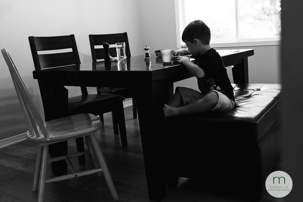 boy eating alone