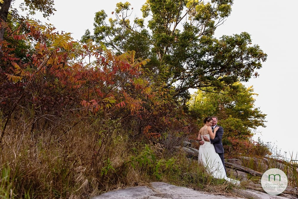 bride and groom near sumac