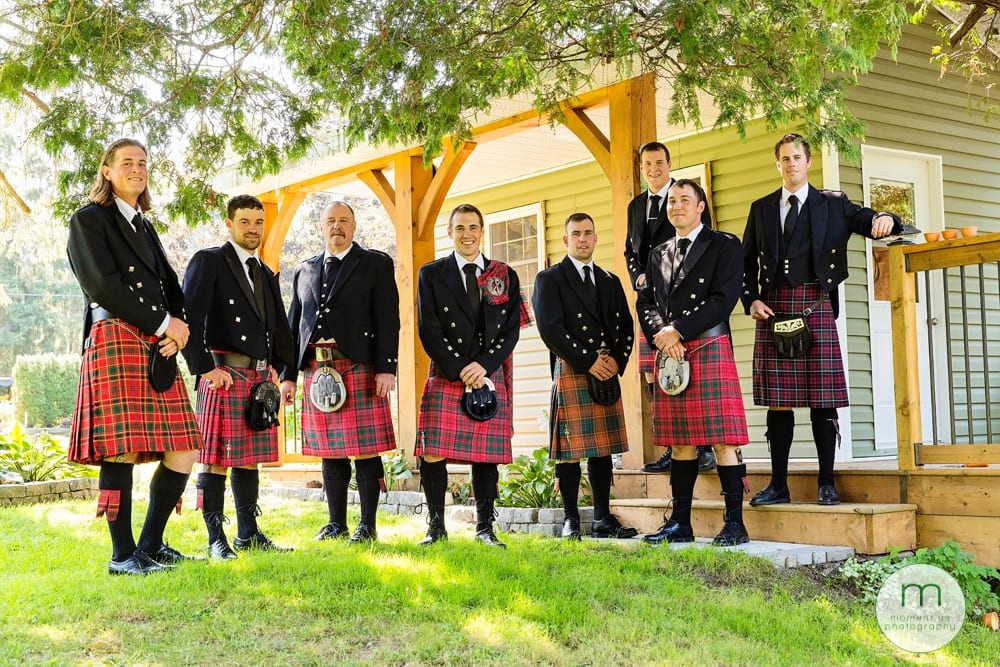 Cornwall Rustic Country Wedding Groom with Groomsmen