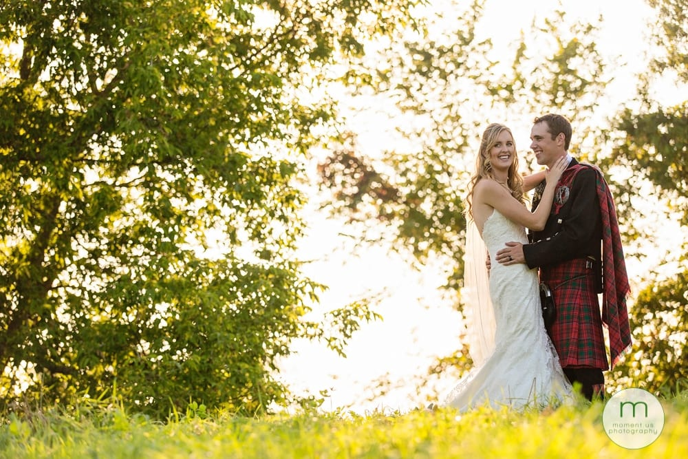 Cornwall Rustic Country Wedding - bride and groom near trees
