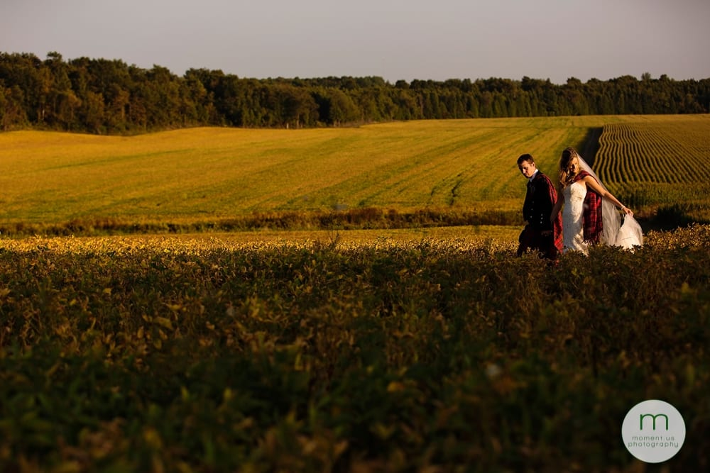 Cornwall Rustic Country Wedding - bride and groom walking through soy field