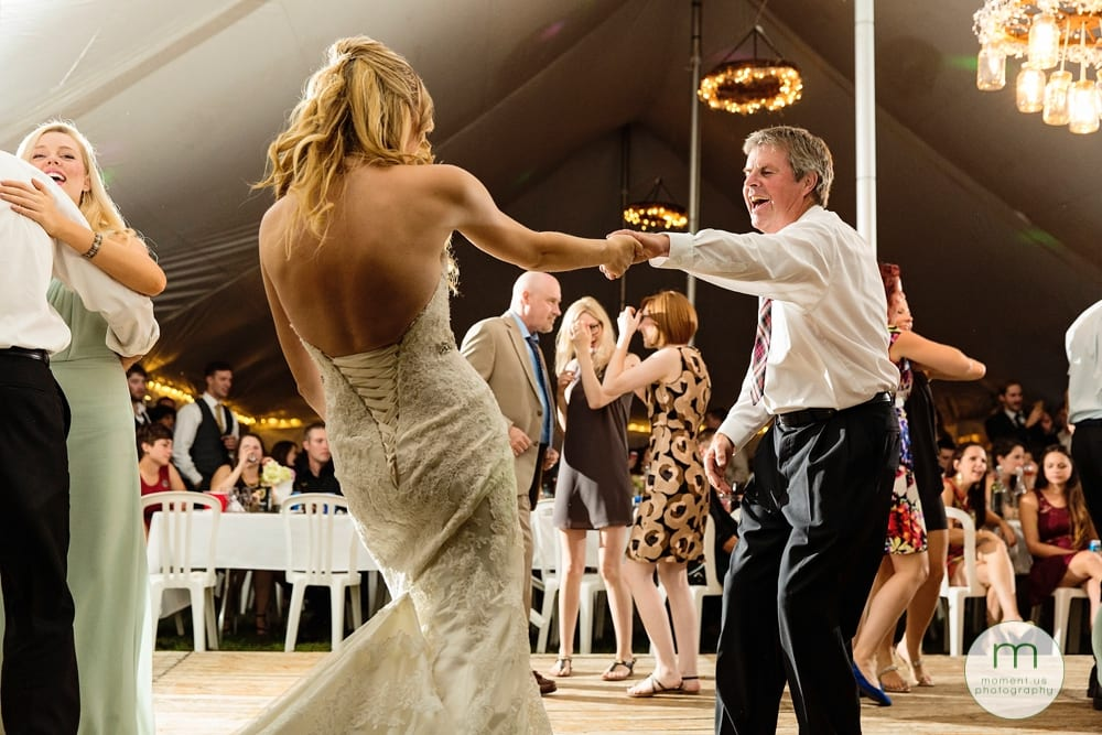 Cornwall Rustic Country Wedding - bride dancing with dad