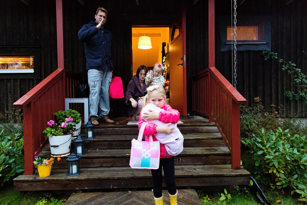 Stockholm family leaving for school