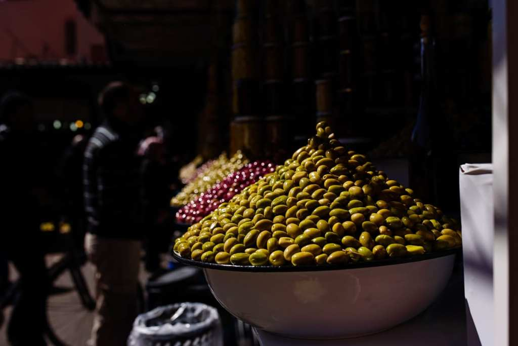 Wedding photographer in Morocco - olives in the medina