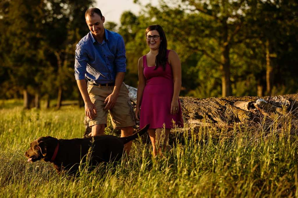 Couple with chocolate lab dog in rural Ontario engagement session