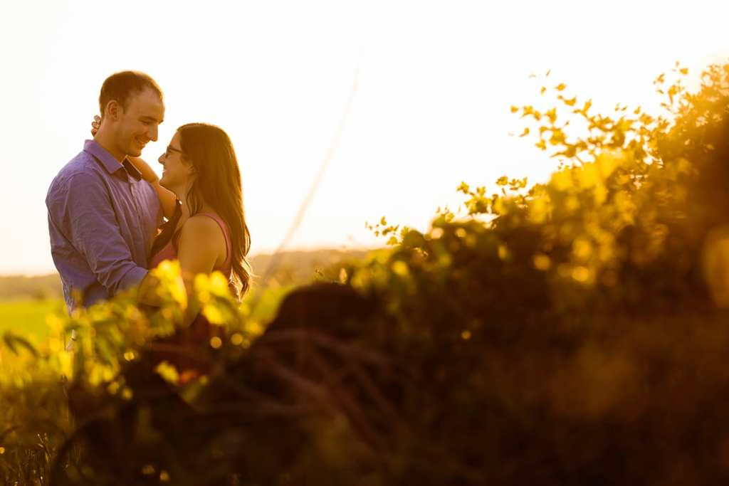 Golden hour couple Rural Ontario Engagement