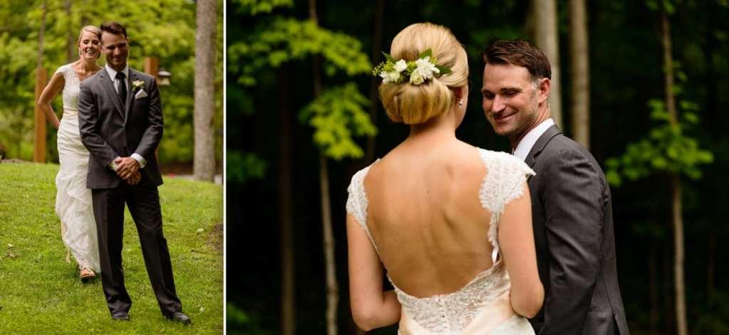 Bride and groom first look rural backyard wedding