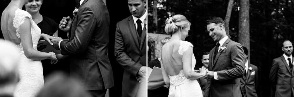 Rural Backyard wedding bride and groom exchange rings