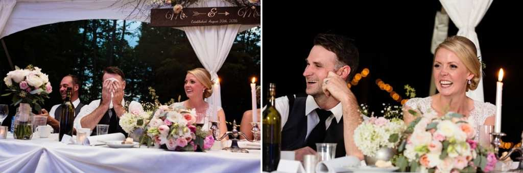 Bride and groom laughing at head table in rural ontario backyard wedding