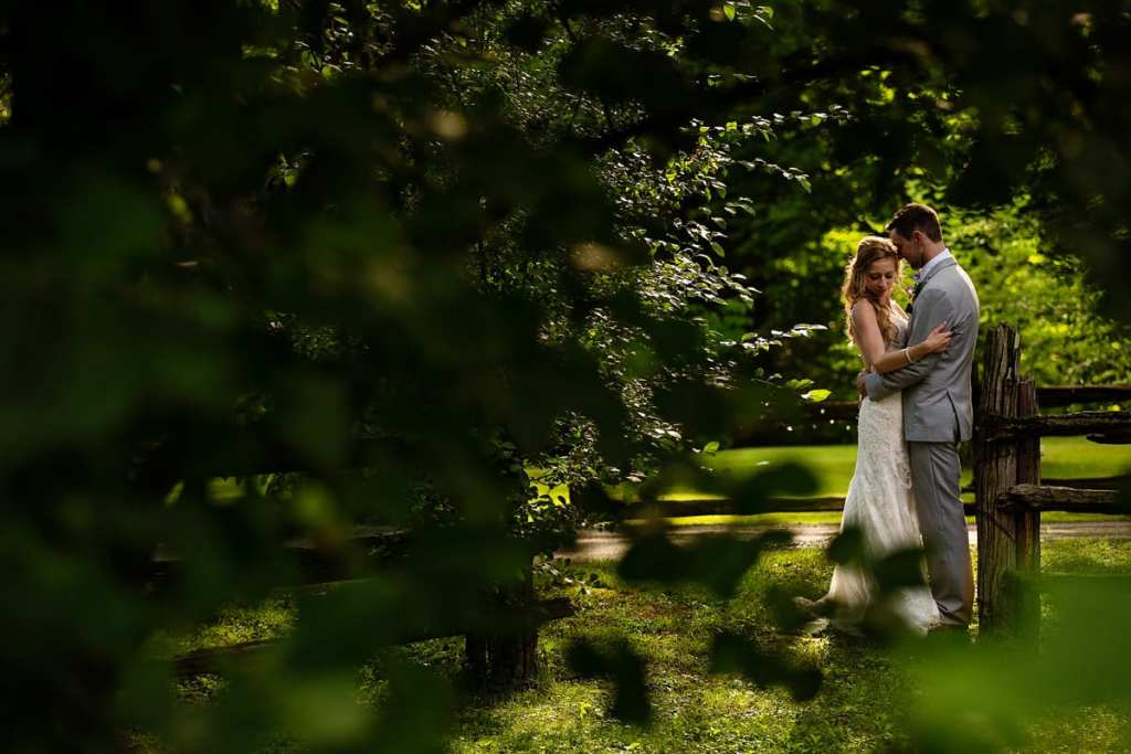 Bride and groom through lush greenery at Strathmere wedding