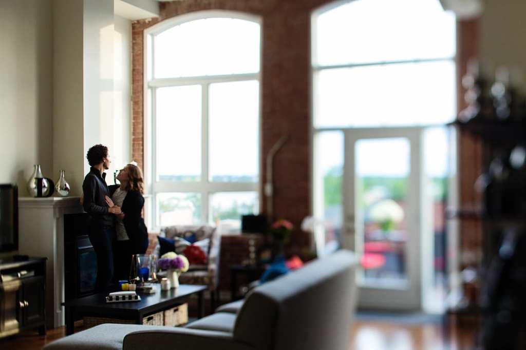 Romantic couple in modern urban loft Cornwall engagement session