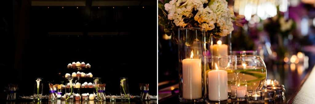 cupcake tower and candle details at trendy cornwall restaurant wedding