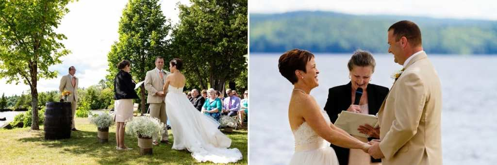 Couple exchanging vows lakeside at intimate Calabogie wedding