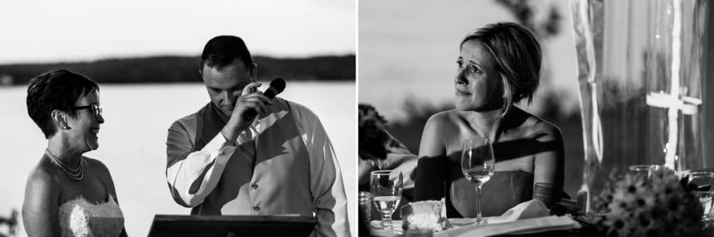 Groom's speech and bridemaid at Calabogie wedding reception