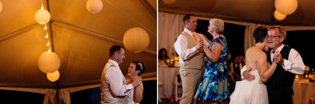 Bride and groom dancing with parents at Calabogie wedding reception