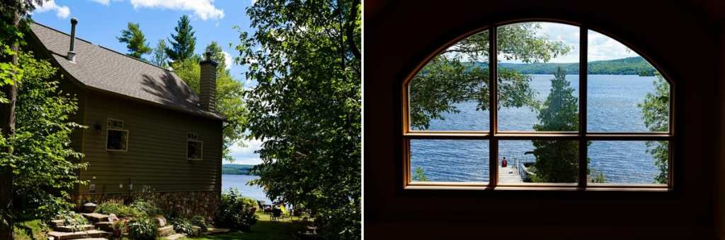 lakeside cabin and lake view through window at Calabogie wedding