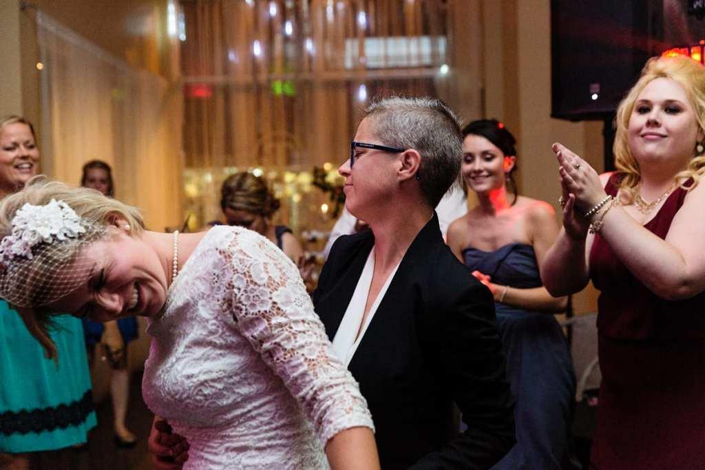 brides dancing at Cornwall chic LGBTQ wedding