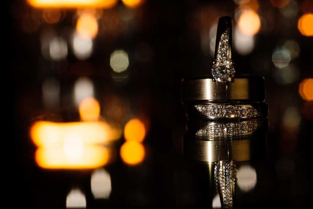bokeh wedding rings shot