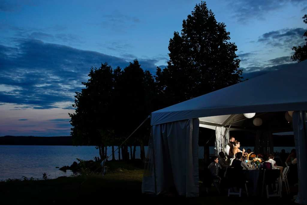bride and groom speeches in Calabogie lakeside tent reception