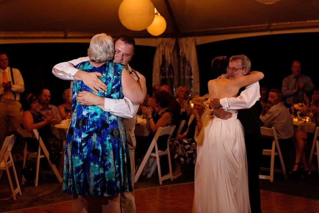 bride and groom dancing with parents at intimate Calabogie wedding