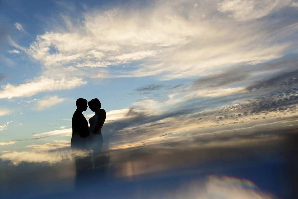 Couple together in Cornwall rooftop sunset photo