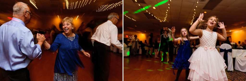 guests dancing under spotlights during Cornwall evening wedding