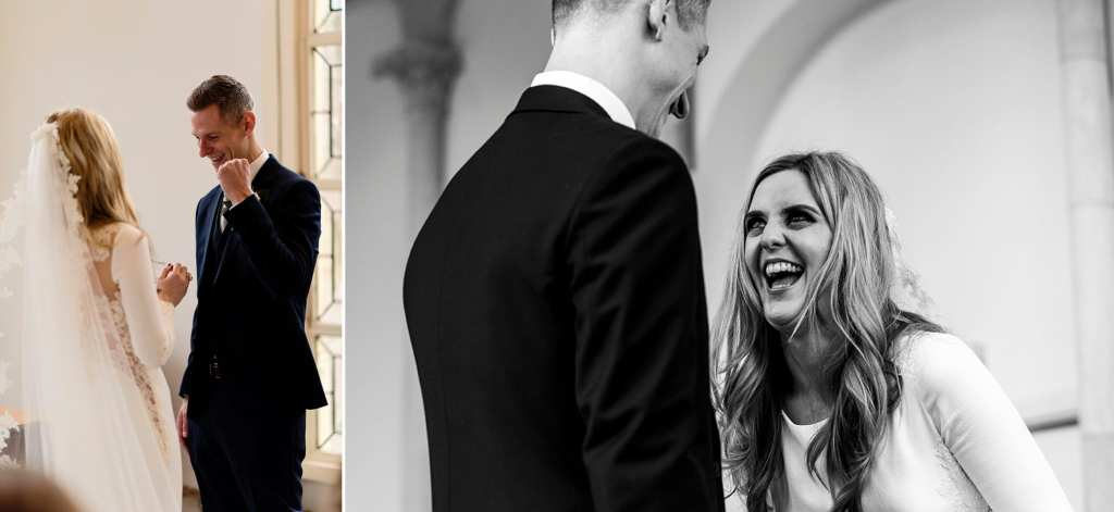 Groom celebrates ring exchange and bride laughs with groom during chic New Forest wedding ceremony at Highcliffe Castle