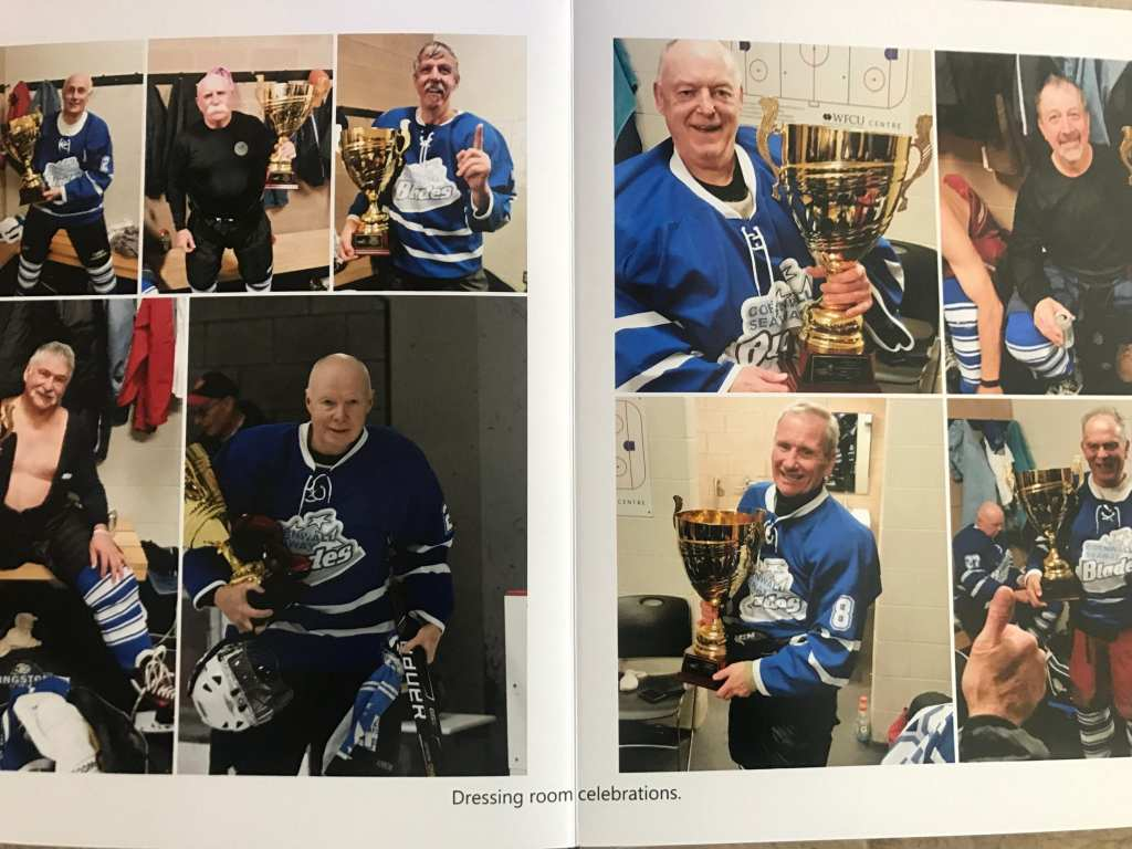 Cornwall family photographs of Seaway Blades team members in blue jerseys with large trophy