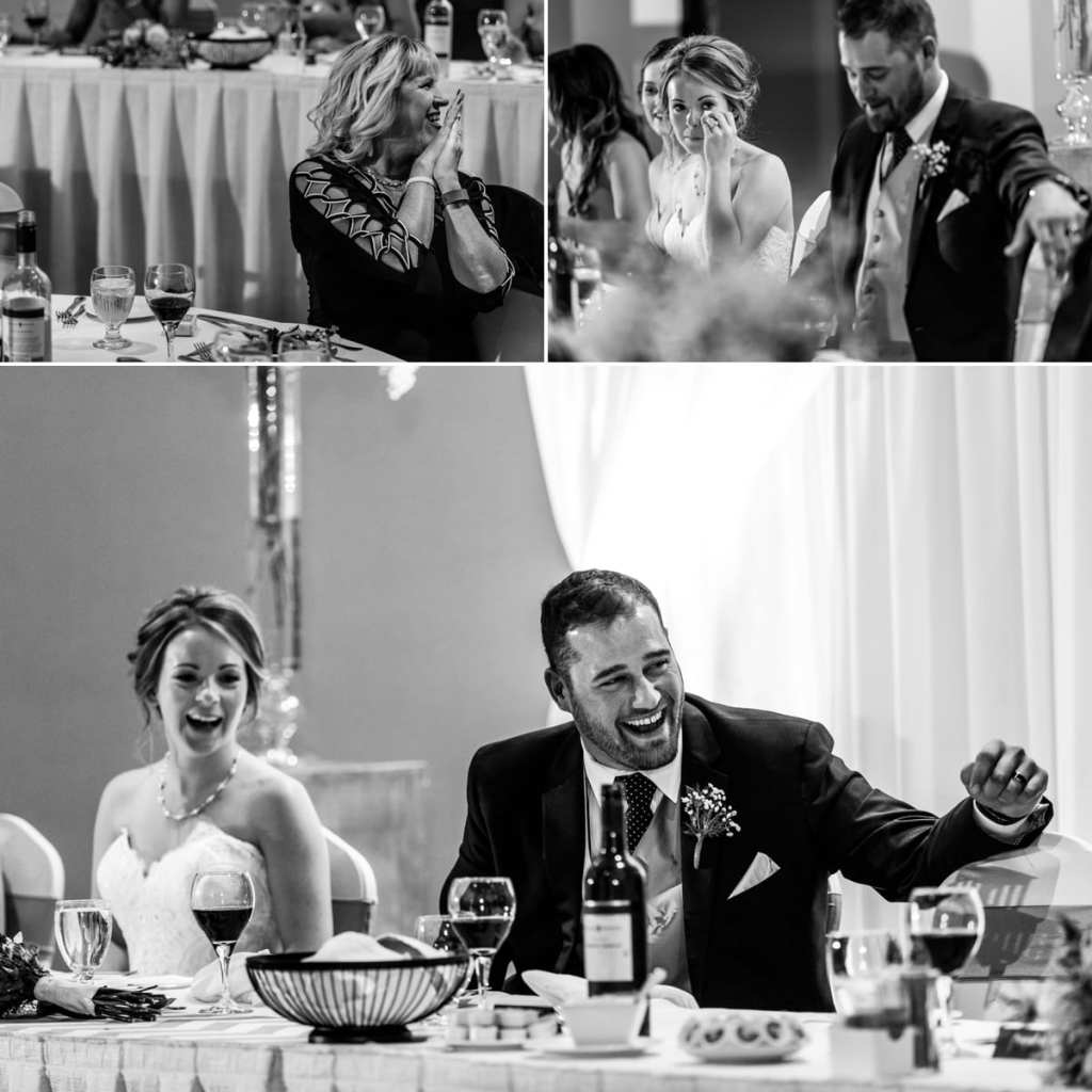 photo collage of guest listening to speeches, bride crying and groom laughing during Autumnal NAV Centre Cornwall Wedding