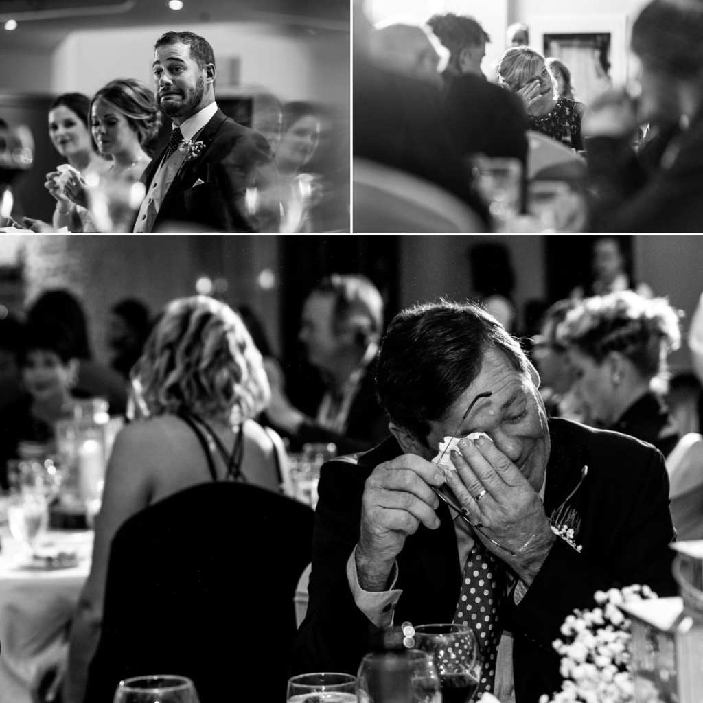Collage of mother crying, father crying and groom cringing during speeches