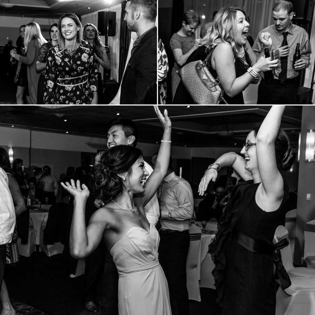 photo collage of guests dancing during Autumnal NAV Centre Cornwall Wedding reception