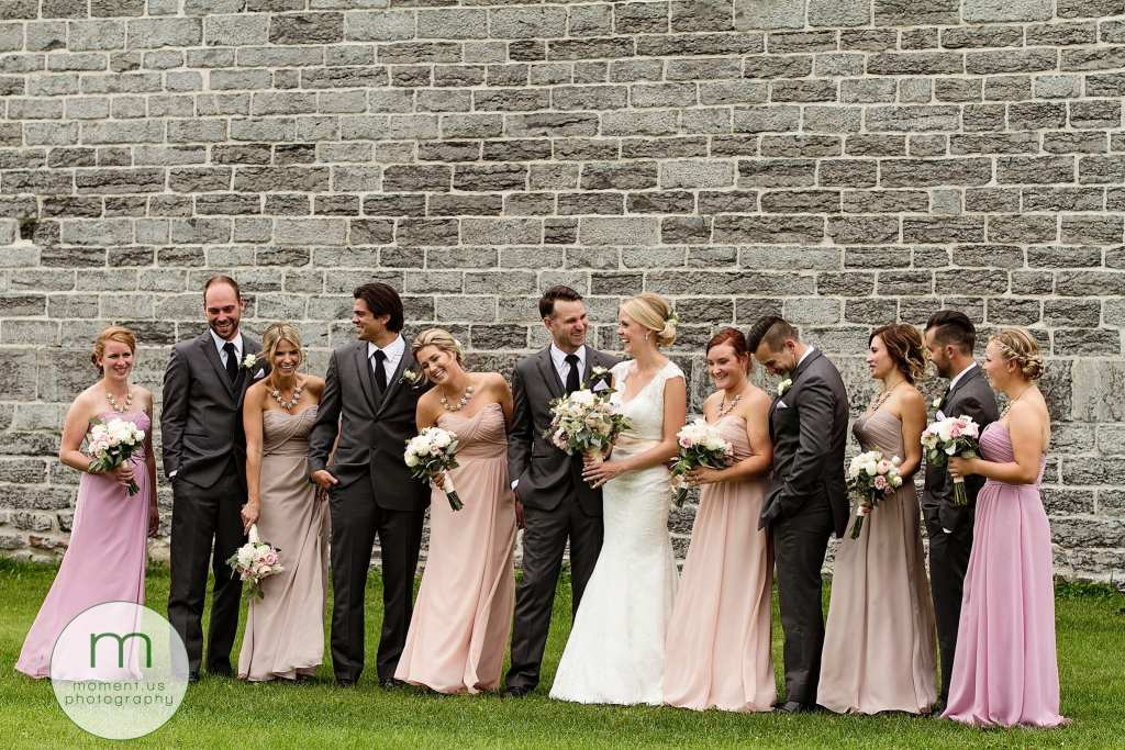 wedding party laughs during casual Ontario & Quebec Wedding Photography portraits